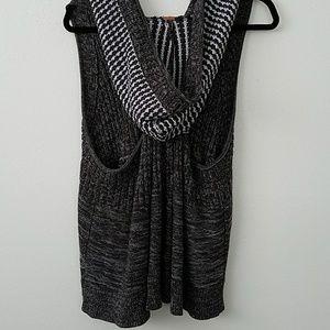 Free People Gray Knit Vest hood buttons razor back
